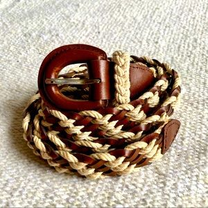 Vintage boho bonded leather & macrame woven belt